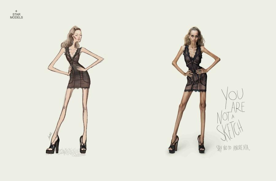 """Campaña de Publicidad contra la anorexia """"No eres un dibujo"""" 2"""
