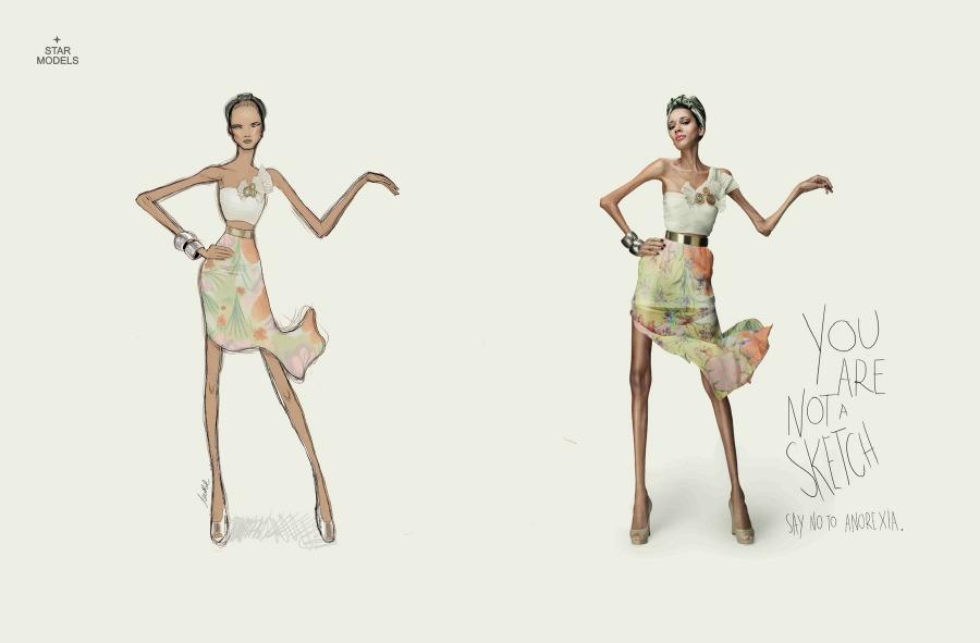 """Campaña de Publicidad contra la anorexia """"No eres un dibujo"""" 3"""