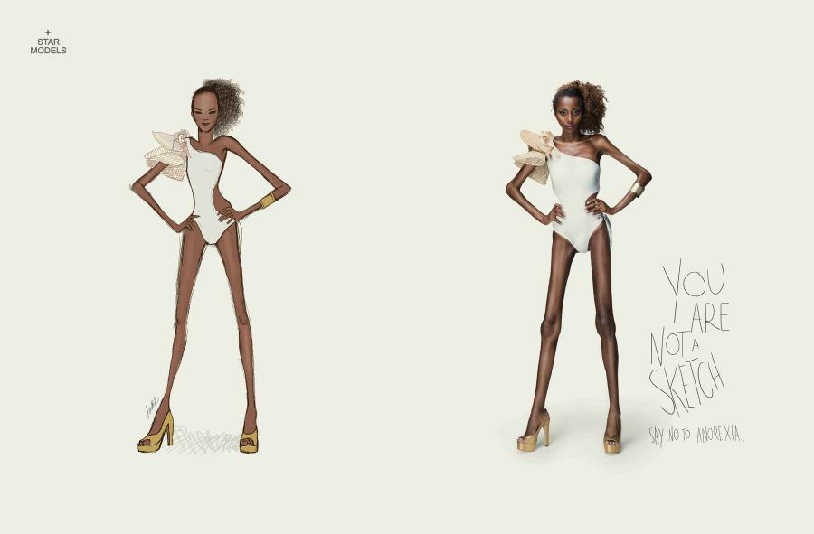 """Campaña de Publicidad contra la anorexia """"No eres un dibujo"""" 1"""