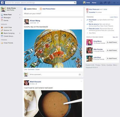 nueva interfaz facebook